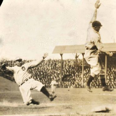 Sportsman Park, St Louis, MO, October 2, 1908 – Ty Cobb steals third base against St Louis Browns