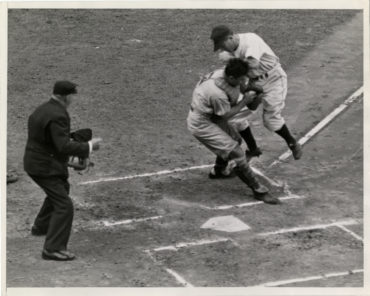Briggs Stadium, Detroit, MI, October 6, 1940 – Tigers and Reds battle in Game 5 of World Series