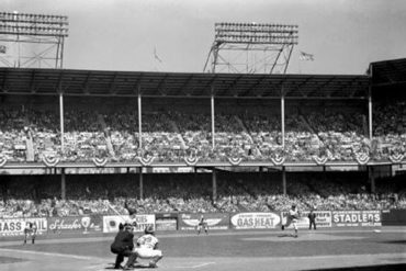 Ebbets Field, Brooklyn, NY, October 3, 1956 – First pitch of the 1956 World Series delivered by Brooklyn Dodgers Sal Maglie