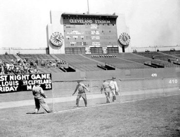 Cleveland Municipal Stadium, Cleveland, OH, April, 26, 1947 – Indians owner Bill Veeck shortens dimensions of outfield walls