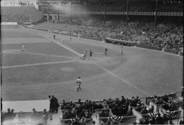 Yankee Stadium, April, 24, 1923 – 8,000 brave cold and wind to see Yankees beat Senators 4-0 in front of President Warren Harding