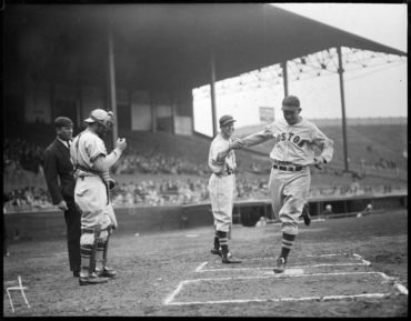 Braves Field, Boston, MA, April 17, 1937 – Pinky Higgins homers against Braves in 7-5 Red Sox win