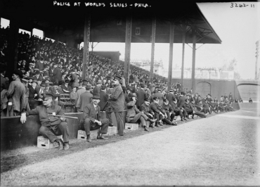 Shibe Park, Philadelphia, PA- Philly police seat on Hire's Root Beer crates during 1914 World Series