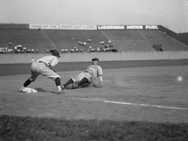 Griffith Stadium, Washington D.C., June 23, 1925 – Babe Ruth slides in safely in Yanks 8-1 loss to Senators