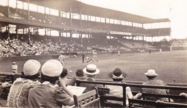 Sportsman Park, St Louis, MO, June 7, 1941 – Yanks Joe DiMaggio looks to extend his hitting streak to 22 games against the Browns