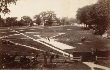 Dartmouth College, Hanover NH,  1882 – Dartmouth College baseball action takes place on unorthodox ball field