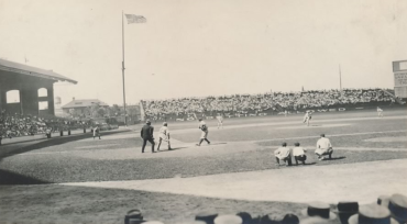 Comiskey Park, Chicago, IL, August 1, 1922 – Babe Ruth up at bat against Sox hurler Red Faber