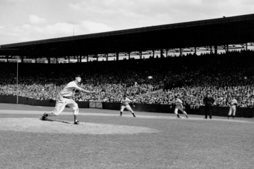 Fenway Park, Boston, MA, August 24, 1940 – Ted Williams comes in to pitch two innings in relief in 12-1 loss to Detroit