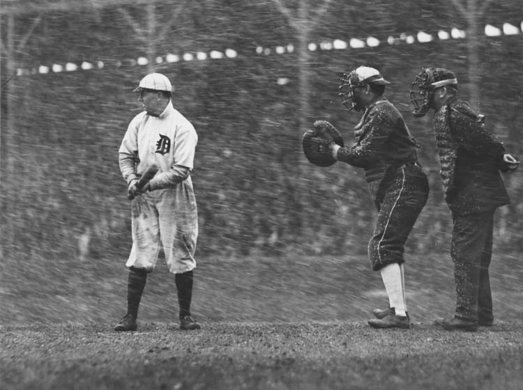Bennett Park, Detroit, MI, April 15,1911 – White Sox and Tigers play season opener in a heavy snowstorm