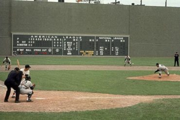 Fenway Park, Boston, MA, May 20, 1961 – A Neil Leifer photo captures action between the Detroit Tigers and Boston Red Sox