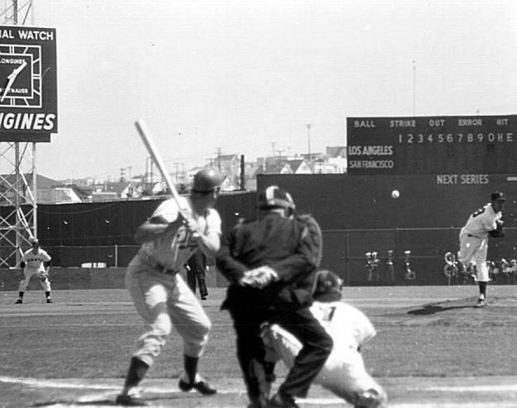 Seals Stadium, San Francisco, CA, April 15, 1958 – First ever MLB game and pitch in California as LA Dodgers and Giants square off in season opener