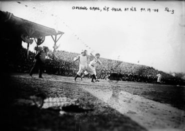 Hilltop Park, Manhattan, NY, April 14, 1908 – Opening Day action between the Philadelphia A's and NY Highlanders