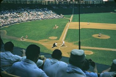 Polo Grounds, Manhattan, NY, June 16, 1957 – Reds slugger Ted Kluszewski up at bat in first inning against Giants Ray Crone