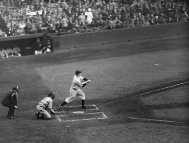 Yankee Stadium, Bronx, NY, May 3, 1936 – Yankees phenom Joe DiMaggio in his first at-bat in the Major Leagues