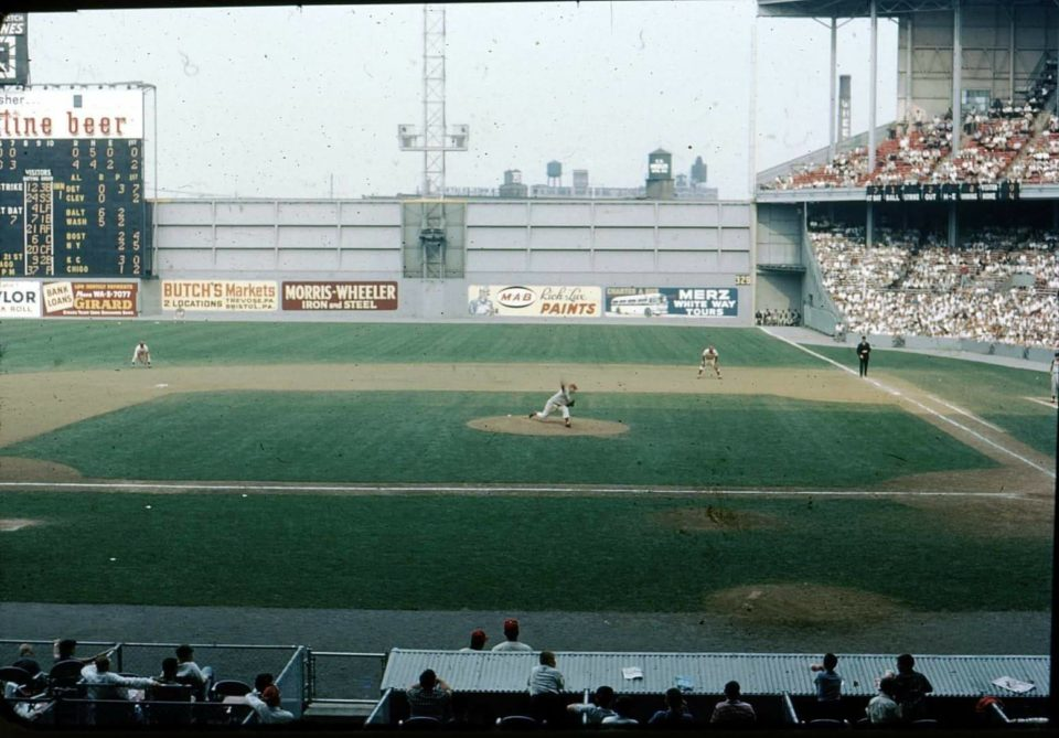 Connie Mack Stadium, Philadelphia, PA, June 5, 1960 – Doubleheader action between the Pirates and Phillies in one of baseball great Shrines once known as Shibe Park