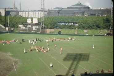 NFL in Ballpark Series:  Forbes Field, Pittsburgh 9/25/49 – Steelers clobber NY Giants 28-7 in season opener