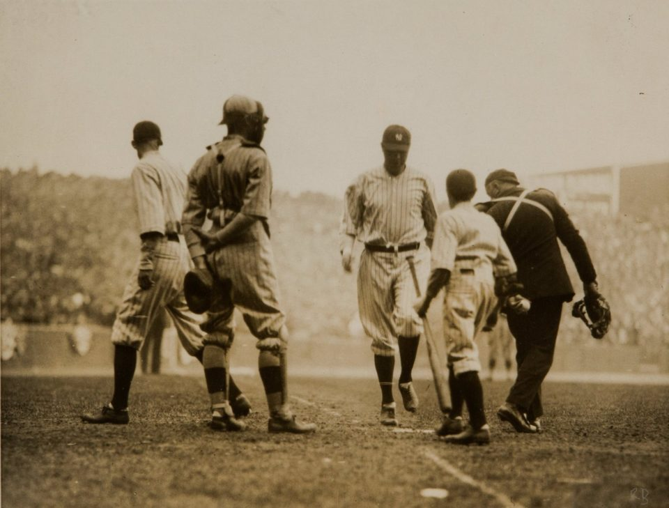 Yankee Stadium, Bronx, April 18, 1923 – Ruth homers in first game at Yankee Stadium in 4-1 win over Boston