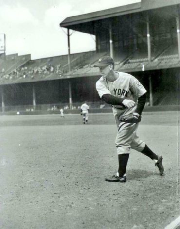 Briggs Stadium, Detroit, MI, May 2, 1939 – Babe Dahlgren replaces the Iron Horse at first base