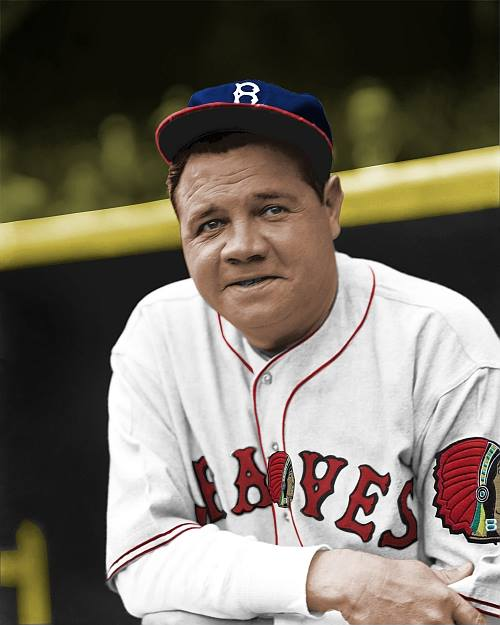 Babe Ruth As A Boston Brave 1935 A Miserable Year Old