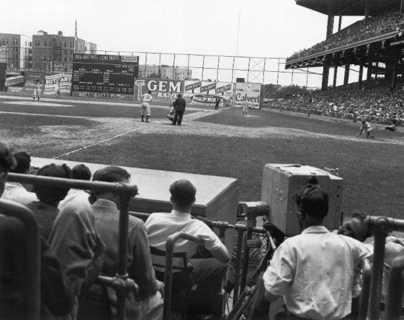 Image result for first baseball game on tv images