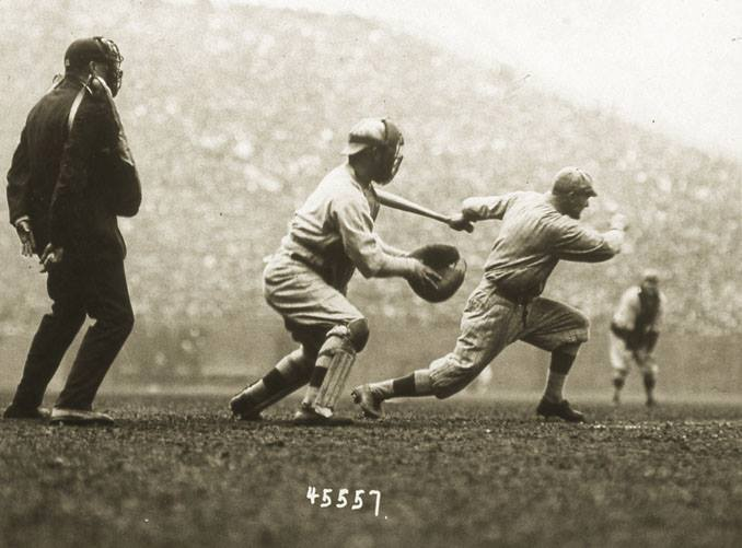 Braves Field, Boston, MA, October 9, 1916 – Brooklyn's Hy Myers goes deep on Red Sox pitcher Babe Ruth in World Series action