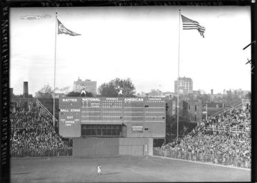 Wrigley Field, Chicago, IL, October 4, 1935 – A look at the original scoreboard during the 1935 World Series