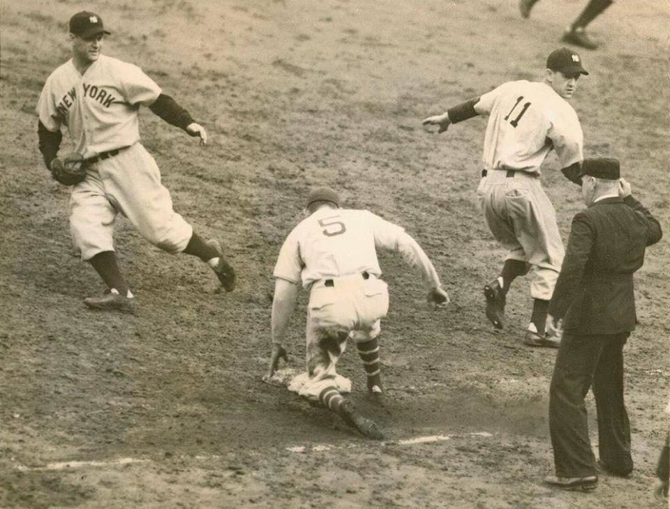 Polo Grounds, Manhattan, NY, October 10, 1937 – Final out of the 1937 World Series as Yankees repeat as champs against Giants