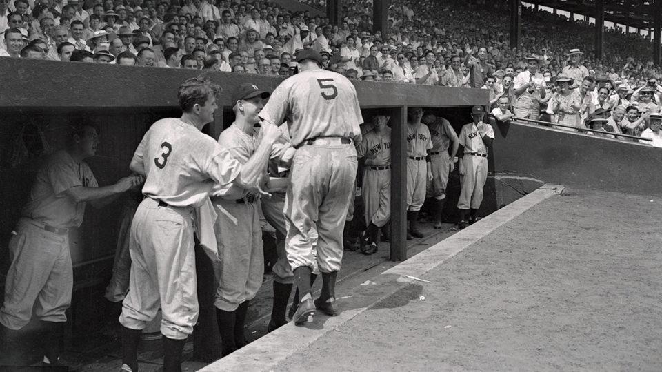 Griffith Stadium, Washington D.C., June 29, 1941 – A very sweaty Joe DiMaggio extends his legendary hitting streak to 41 games