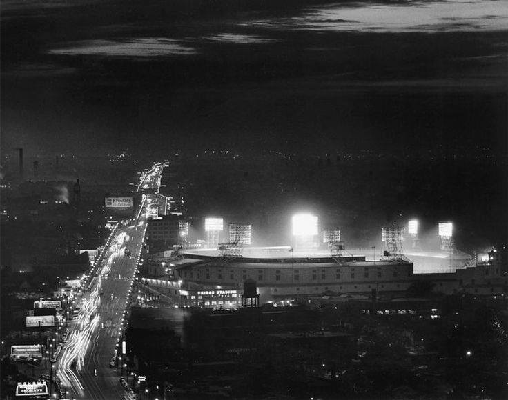 Briggs Stadium, Detroit, MI, June 15, 1948 – Lights are finally on as Detroit becomes last AL team to host night games
