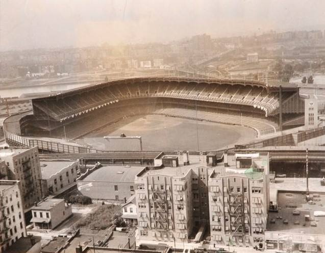 Yankee Stadium, Bronx, NY, September 27, 1932 – Hanging of the bunting is almost complete with Game One of World Series one day away