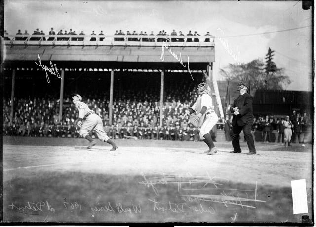 Bennett Park, Detroit, MI, October 11, 1907 – Tigers continue to give in Cubs fits in World Series in winning Game Four