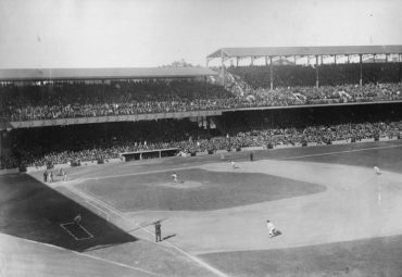 Griffith Stadium, Washington D.C., October 4, 1924 – Action during the first game of the 1924 World Series between the NY Giants and Senators