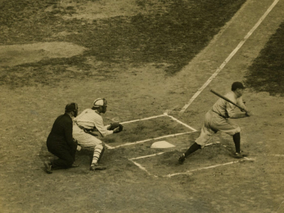 Polo Grounds, Manhattan, NY, October 4, 1922 – Yankees slugger Babe Ruth strikes out in his first at-bat of 1922 World Series