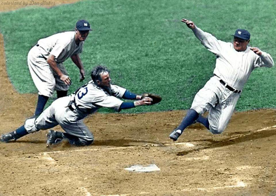 Yankee Stadium, Bronx, NY, August 14, 1934 – Ruth out at home as Tigers Ray Hayworth applies tag