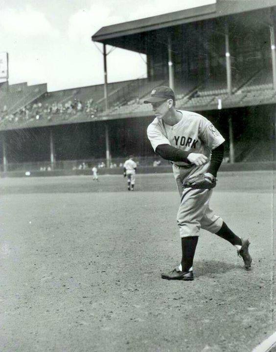 Briggs Stadium, Detroit, MI, May 2, 1939 – Babe Dahlgren warms up at first base as Lou Gehrig consecutive games streak comes to an end