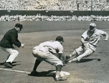 Sportsman Park, St Louis, MO, August 13, 1939 – Johnny Mize has the look of a dead man in a Reds-Cardinals doubleheader