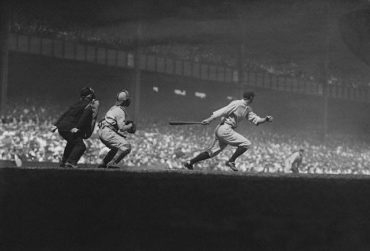 Yankee Stadium, Bronx, NY, September 9, 1928 – Yankees Earle Combs leads off with base hit against the Philadelphia A's in key game in AL pennant race