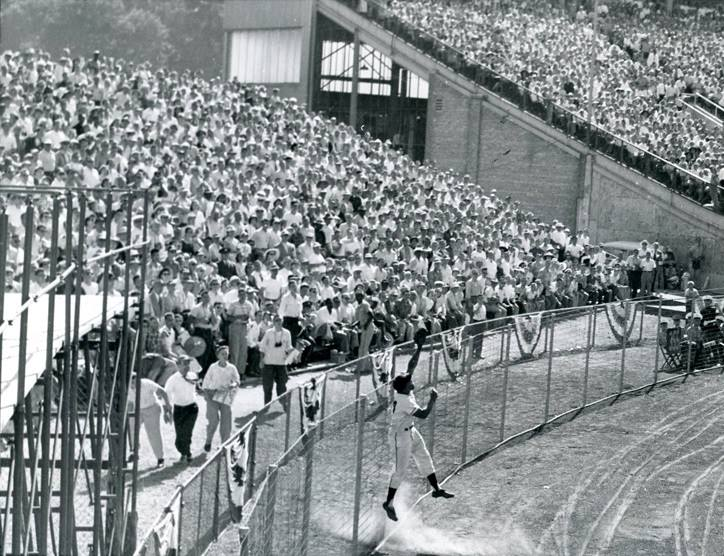 County Stadium, Milwaukee, WI, July 12, 1955 – Willie Mays robs Ted Williams of a home run in 1955 All-Star game