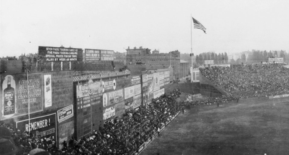 Fenway Park, Boston, MA, October, 12, 1914 – More than 35,000 see Miracle Braves battle Philadelphia A's in Game 3 of 1914 World Series