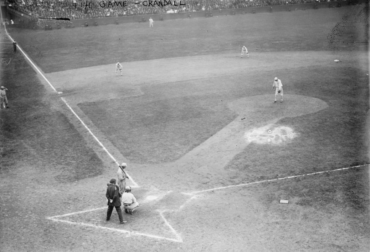 Shibe Park, Philadelphia, PA, October 10, 1913 – A's Chief Bender tries to hold off rallying Giants in Game 4 of 1913 World Series