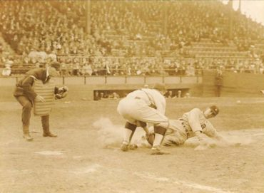 Sportsman Park, St Louis, MO, April 21, 1923 – Tigers' Topper Rigney is a tad early sliding home in 16-1 rout of St Louis Browns