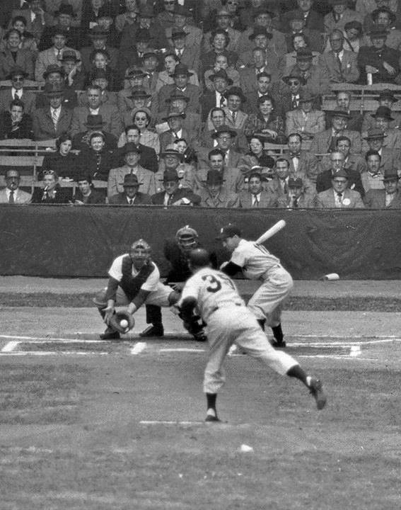 Shibe Park, Philadelphia, PA, October 4, 1950 – Jim Konstanty's first pitch to the Yankees Phil Rizzuto in the 1950 World Series