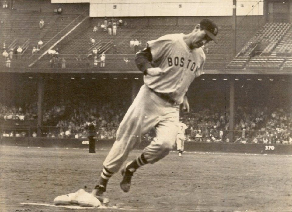 Briggs Stadium, Detroit, MI, August 29, 1957 – Ted Williams hits his 33rd homer of the season in Red Sox 1-0 win over Tigers