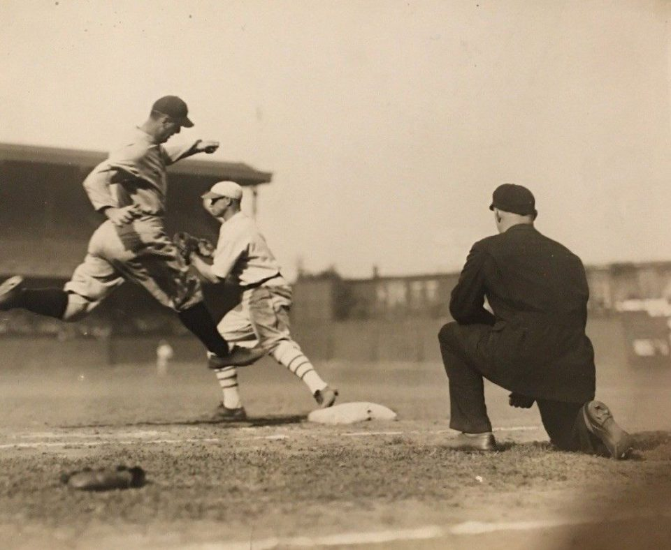 Shibe Park, Philadelphia, September 3, 1929 – A hustling Gehrig is out at first base as Yankees are routed by Athletics 10-2